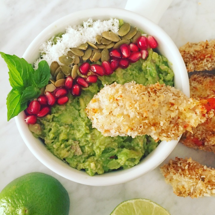 Red Curry Coconut Crusted Prawns with Lemongrass GingerGuacamole