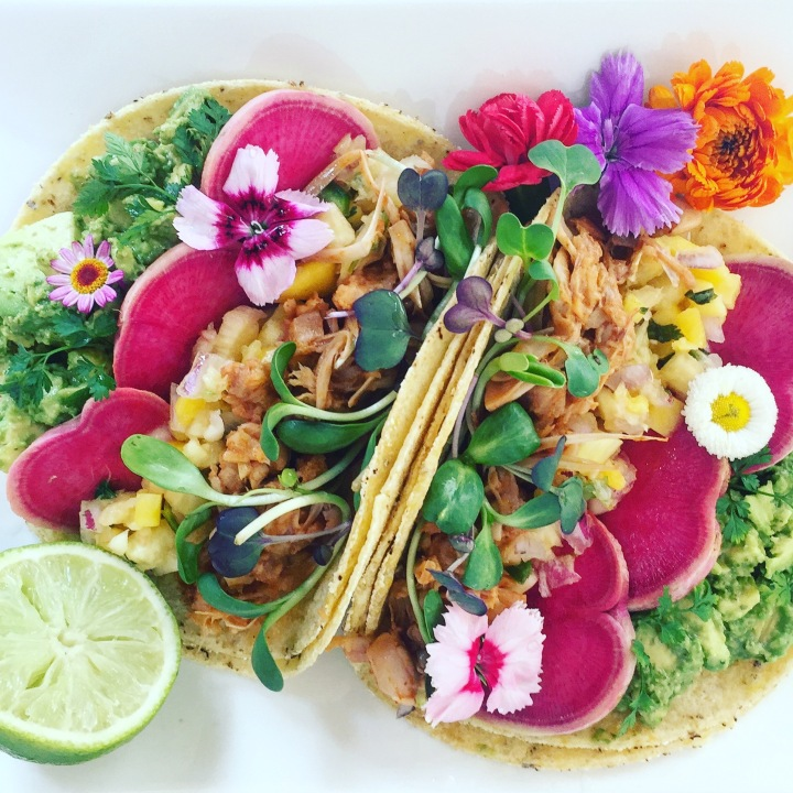Jackfruit Tacos with Edible Flowers