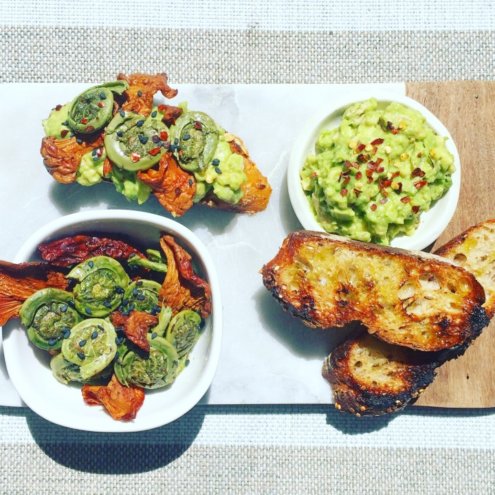 Seasonal Fiddlehead Avocado Toast